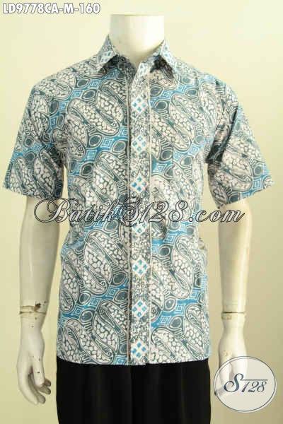 Hem Batik Halus Lengan Pendek, Kemeja Batik Pria Model Terkini Kwalitas Istimewa, Motif Klasik Cap Warna Alam Tampil Lebih Mempesona [LD9778CA-M]