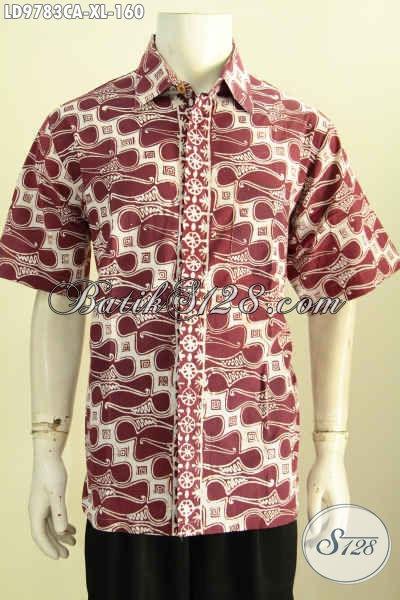 Baju Batik Elegan Modis Desain Kekinian, Pakaian Batik Lengan Pendek Motif Klasik Cap Warna Alam, Penampilan Gagah Menawan, Size XL