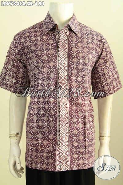 Baju Batik Atasan Pria, Kemeja Batik Elegan Desain Terbaru Lebih Berkelas Berpadu Motif Mewah Cap Warna Alam, Model Lengan Pendek Cocok Utnuk Untuk Santai Dan Resmi [LD9784CA-XL]
