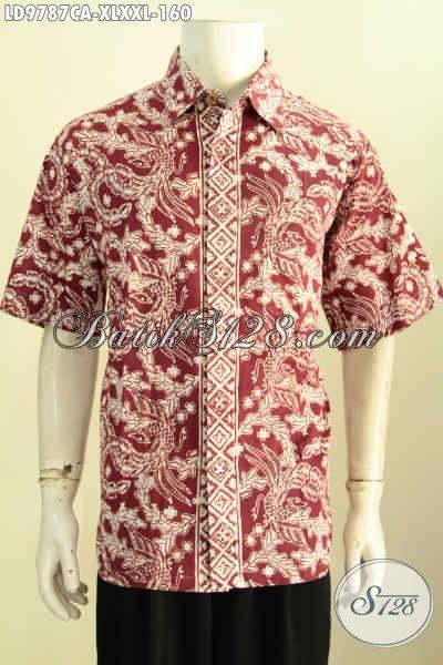 Jual Online Hem Batik Warna Merah Motif Bagus Proses Cap Warna ALam Ramah Lingkungan, Hem Batik Berkelas Desain Terbaru, Penampilan Makin Tampan Dan Bergaya [LD9787CA-XL]