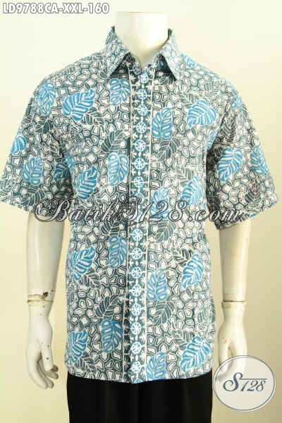 Hem Batik Jumbo, Kemeja Batik Khusus Pria Gemuk, Pakaian Batik Klasik Cap Warna Alam, Cocok Untuk Acara Resmi [LD9788CA-XXL]