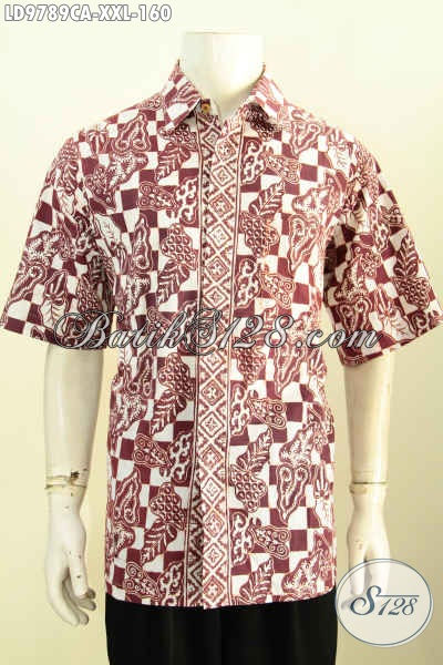 Hem Batik Lengan Pendek Istimewa, Pakaian Batik Solo Halus Proses Cap Warna Alam, Exlusive Cowok Gemuk Ukuran XXL
