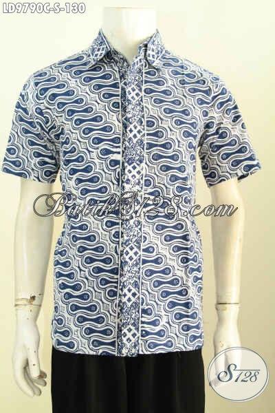 Batik Hem Klasik Desain Kekinian Proses Cap, Baju Batik Kerja Lelaki Muda Model Lengan Pendek Trend 2017 Hanya 130K [LD9790C-S]