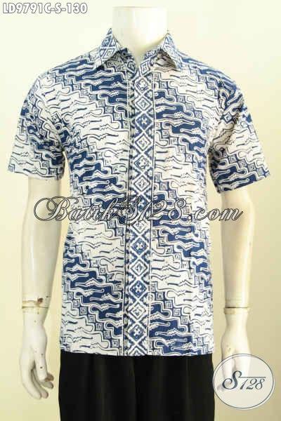 Hem Batik Kerja Pria Muda, Baju Batik Halus Lengan Pendek Motif Klasik Proses Cap Hanya 130K, Size S
