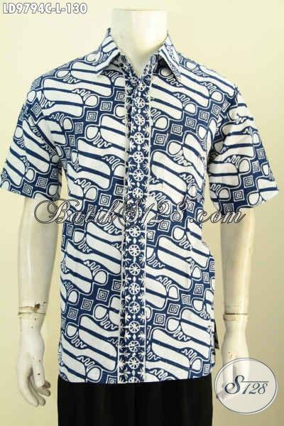 Jual Baju Batik Solo Istimewa, Pakaian Batik Modis Halus Lengan Pendek Motif Klasik Desain Terbaru Yang Membuat Penampilan Modis Dan Elegan, Size L