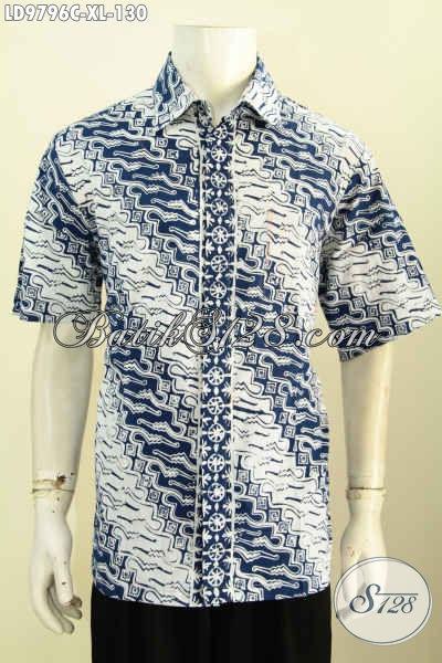 Hem Batik Modis Istimewa Untuk Pria Dewasa, Kemeja Batik Solo Proses Cap Bahan Adem Nyaman Di Pakai Tiap Hari [LD9796C-XL]