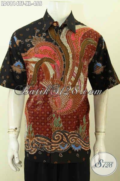 Batik Kemeja Keren Dan Mewah, Busana Batik Solo Asli Motif Bagus Proses Tulis Model Lengan Pendek Pakai Furing, Penampilan Lebih Berkelas, Size XL