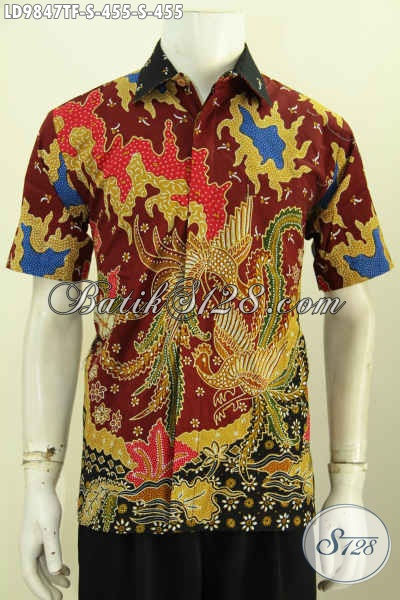 Hem Batik Halus Motif Bagus Kwalitas Istimewa, Pakaian Batik Pria Lengan Pendek Proses Tulis, Bikin Penampilan Lebih Gagah Daleman Full Furing [LD9847TF-S]