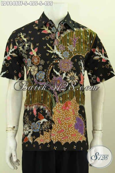Kemeja Batik Kerja Terbaru, Pakaian Batik Istimewa Lengan Pendek Bahan Adem Proses Tulis Motif Keren Daleman Pake Furing, Tampil Tampan Mempesona [LD9848TF-S]