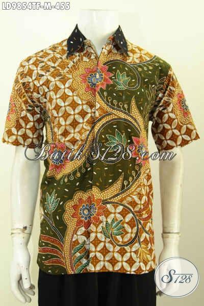 Pakaian Batik Mewah Halus Lengan Pendek, Kemeja Batik Full Furing Bahan Adem Kwalitas Bagus Motif Kekinian Proses Tulis Harga 400 Ribuan [LD9854TF-M]