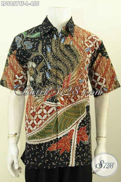Sedia Hem Lengan Pendek Bahan Batik Tulis, Baju Batik Kerja Terkini Full Furing, Penampilan Lebih Mewah [LD9857TF-L]
