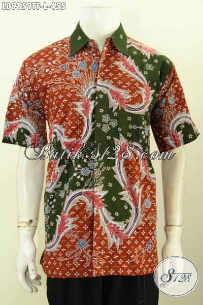 Toko Online Busana Batik Premium, Jual Kemeja Lengan Pendek Halus Motif Mewah Proses Tulis Harga 400 Ribuan, Pakaian Batik Berkelas Full Furing Asli Solo [LD9859TF-L]