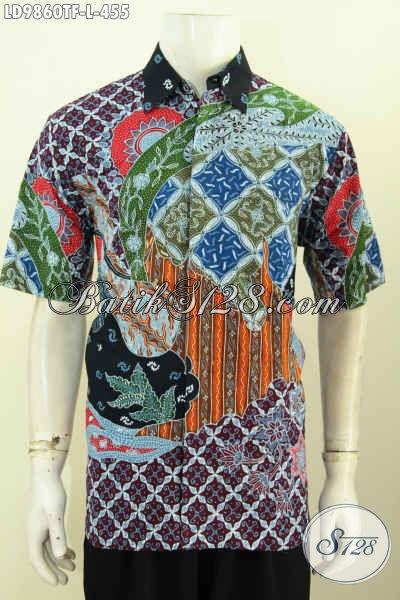 Kemeja Lengan Pendek Batik Tulis Halus, Pakaian Batik Istimewa Buatan Solo Lengan Pendek Pakai Furing Untuk Penampilan Lebih Gagah Dan Tampan [LD9860TF-L]