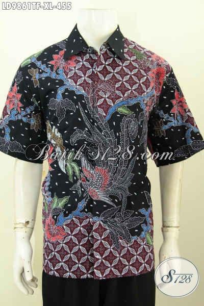 Kemeja Batik Pria Size XL, Hem Batik Pria Dewasa Premium Pakai Furing Motif Bagus Proses Tulis Model Lengan Pendek 455K [LD9861TF-XL]