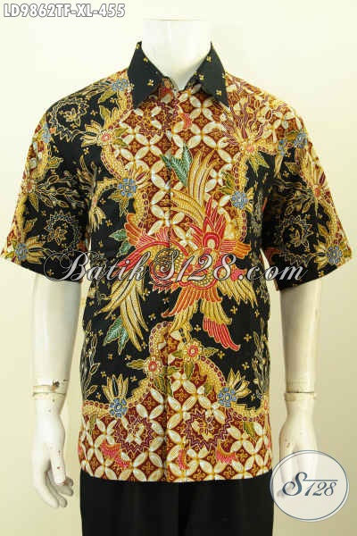 Hem Batik Bagus Dan Berkelas, Pakaian Batik Kerja Pria Size XL Bahan Adem Motif Keren Proses Tulis Lengan Pendek Full Furing [LD9862TF-XL]
