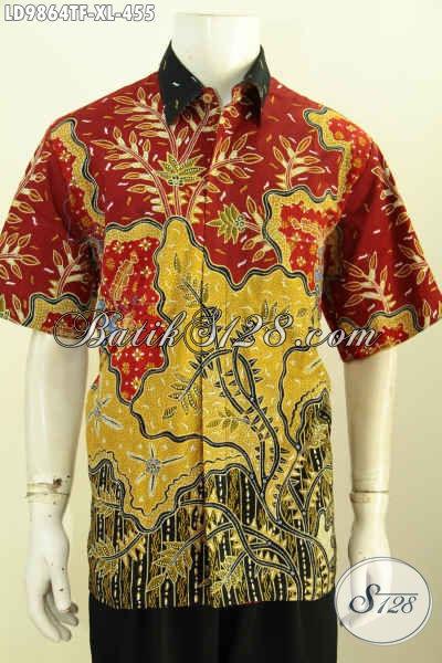 Jual Online Kemeja Lengan Pendek Mewah, Baju Batik Premium Proses Tulis Motif Kekinian Lengan Pendek Full Furing, Di Jual Online 455K [LD9864TF-XL]