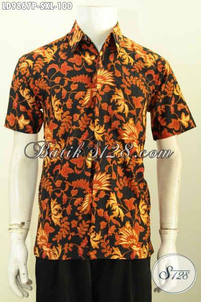 Hem Batik Lengan Pendek, Kemeja Batik Modis Warna Klasik Motif Bagus Proses Printing Desain Kekinian Harga 100K [LD9867P-S , XL]