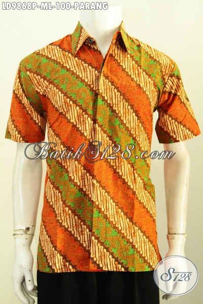 Batik Hem Pria Muda Lengan Pendek, Pakaian Batik Klasik Motif Parang Proses Printing Harga Murmer, Size M – L