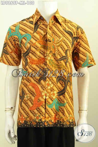 Baju Batik Fashion Pria Keren Buatan Solo Model Lengan Pendek Motif Elegan, Baju Batik Printing Murmer Kwalitas Istimewa, Size M – L