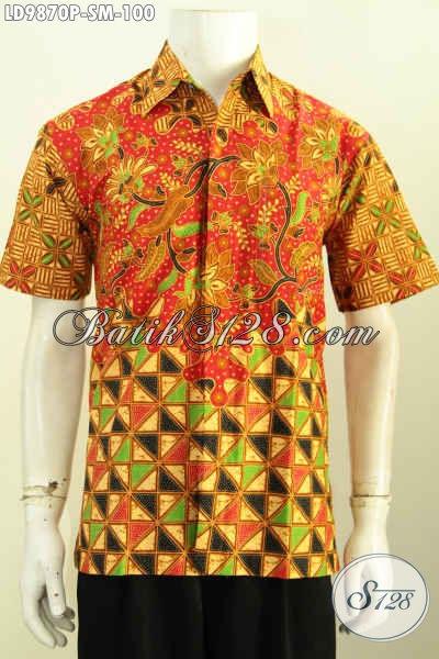 Hem Batik Printing Motif Kombinasi, Baju Batik Murmer Lengan Pendek Desain Berkelas, Penampilan Makin Gagah [LD9870P-M]