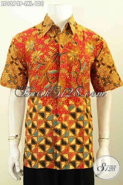 Kemeja Batik Modis Bahan Halus Motif Mewah, Busana Batik Lenag Pendek Proses Printing, Bisa Untuk Ke Kantor Dan Kondangan [LD9874P-XL]