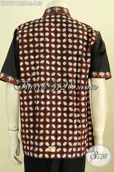Kemeja Batik Pria Kombinasi, Busana Batik Motif Klasik Dengan Kain Polos Proses Cap Tulis, Tampil Lebih Trendy, Size L