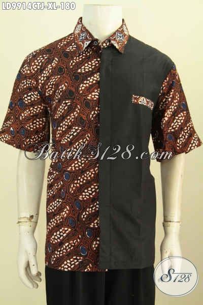 Baju Batik Pria Dewasa Model Kekinian Hem Batik Kombinasi Katun