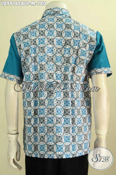 model kemeja batik kombinasi kain polos tampak foto belakang