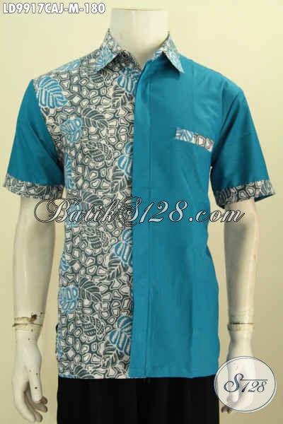 Batik Kemeja Lengan Pendek Kombinasi Kain Polos, Baju Batik Solo Keren Dan Trendy Untuk Tampil Gaya Dan Gaul Motif Bagus Asli Buatan Solo [LD9917CAJ-M]