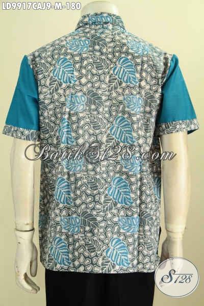 Jual Online Pakaian Batik Solo Jawa Tengah Nan Istimewa, Hem Batik Modis Lengan Pendek Motif Keren Kombinasi Katun Jepang Proses Cap Warna Alam, Size M