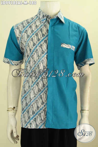 Baju Batik Cowok Warna Biru Motif Klasik Kombinasi Kain Polos Hem