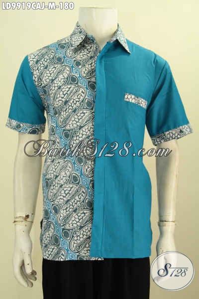 Busana Batik Modern Klasik Trend 2018, Pakaian Batik Keren Dan Berkelas Kombinasi Kain Polos Bahan Adem Bikin Pria Terlihat Tampan Dan Gaul [LD9919CAJ-M]