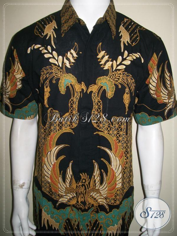 Batik Tulis Pria Lengan Pendek Warna Hitam Motif Keren [LD991T-L]