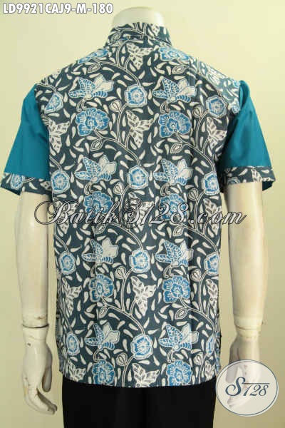 Fashion Batik Solo Trend 2019, Busana Batik Kombinasi Kain Polos Motif Terkini Bahan Adem Warna Biru Proses Cap Warna Alam Kombinasi Katun Jepang Model Lengan Pendek 180K [LD9921CAJ-M]