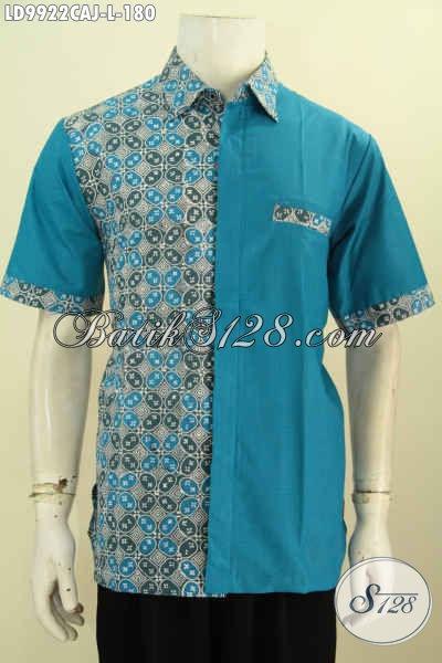 Busana Batik Warna Biru Size L Lengan Pendek  Motif Klasik, Baju Batik Pria Kombinasi Kain Polos Proses Cap Warna Alam, Bisa Buat Kerja Dan Hangout [LD9922CAJ-L]