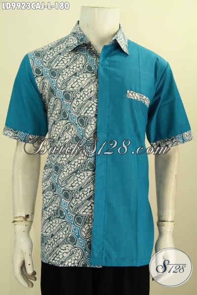 Batik Hem Warna Biru Kombinasi Kain Polos, Baju Batik Cap Warna Alam Lengan Pendek Elegan Motif Klasik Hanya 180 Ribu, Size L