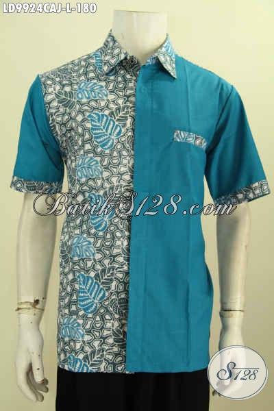 Batik Hem Solo Halus, Kemeja Batik Klasik Kombinasi Kain Polos Biru, Baju Batik Lengan Pendek Trend Masa Kini, Bisa Buat Santai Dan Resmi [LD9924CAJ-L]