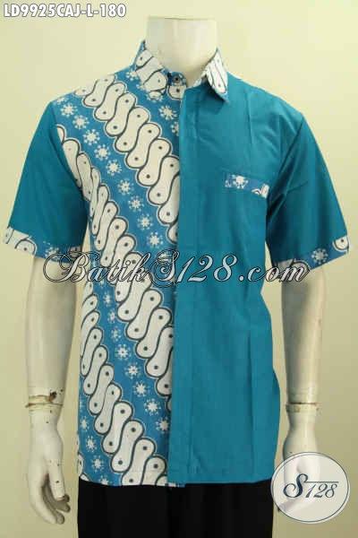 Baju Batik Atasan Pria, Hadi Dengan Kombinasi Kain  Polos Biru Berpadu Motif Klasik ELegan Proses Cap Tulis Model Lengan Pendek, Cocok Untuk Seragam Kerja [LD9925CAJ-L]