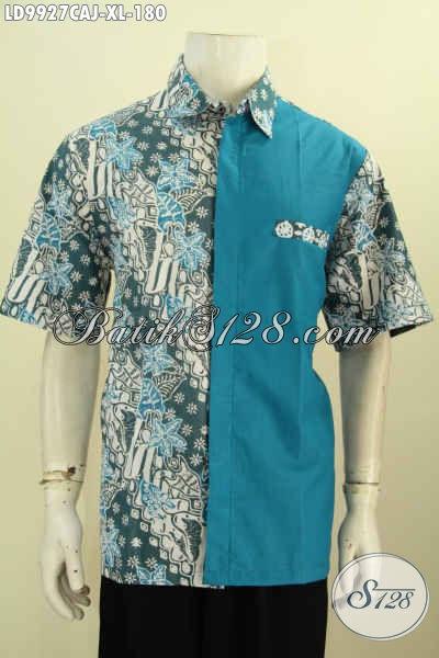 Baju Batik Pria Berkwalitas Istimewa, Hem Batik Kombinasi Kain Polos Model Lengan Pendek Desain Keren Dan Gaul Motif Klasik Cap Warna Alam Hanya 180K [LD9927CAJ-L]