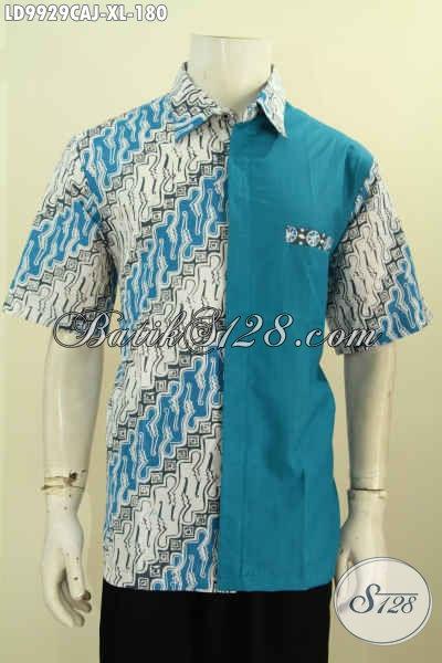 model baju batik pria kombinasi polos masa kini terbaru gaul lengan pendek