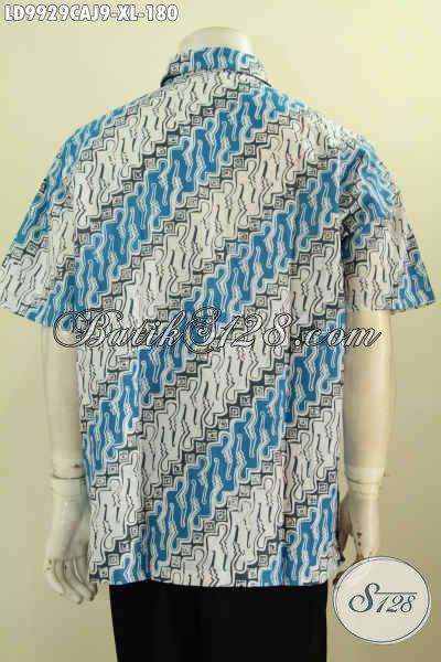 Batik Hem Motif Parang Klasik Kombinasi Kain Polos, Baju Batik Nan Elegan Desain Keren Yang Bikin Pria Dewasa Terlihat Gagah Dan Tampan [LD9929CAJ-XL]