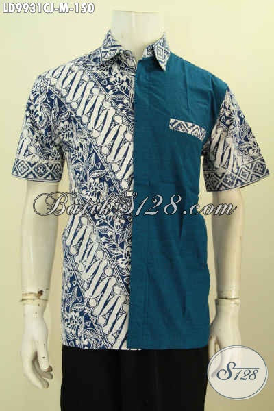 Batik biru, model kemeja batik kombinasi bahan polos modern