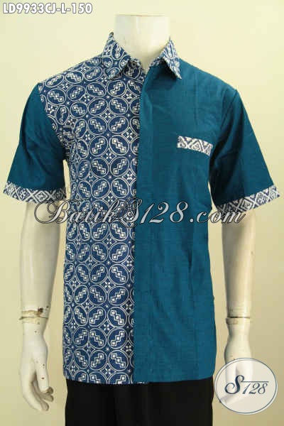 Baju Batik Solo Halus Lengan Pendek, Hem Batik Istimewa Berkelas Kombinasi Kain Polos Trend Mode 2019 Yang Bikin Pria Tampan Maksimal [LD9933CJ-L]