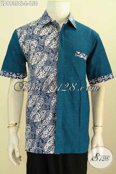 Baju Batik Pria Elegan, Hadir Dengan Motif Klasik Kombinasi Bahan Polos Warna Biru, Pakaian Batik Lengan Pendek Proses Cap Trend Mode 2019 [LD9935CJ-L]