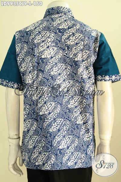 Kemeja Lengan Pendek Bahan Batik Cap, Busana Batik Kombinasi Kain Polos Katun Jepang Kwalitas Istimewa Harga Biasa, Size L