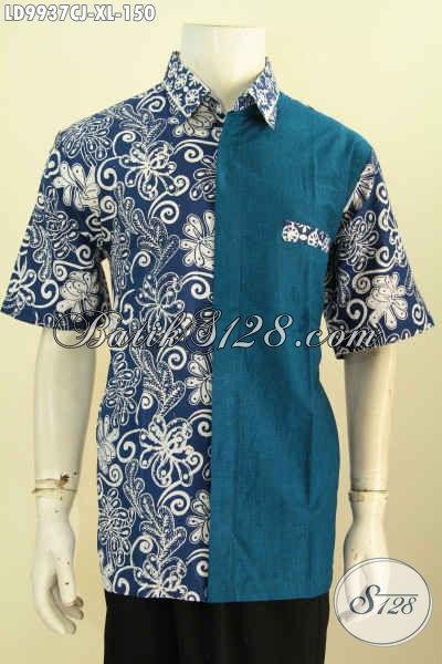 Batik Hem Solo Keren, Baju Batik Modis Desain Mewah Berkelas Kombinasi Bahan Polos, Baju Batik Cap Kombinasi Katun Jepang Untuk Penampilan Lebih Sempurna [LD9937CJ-XL]