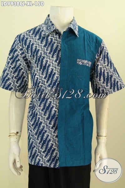 Baju Batik Kerja Lengan Pendek Desain Kekinian, Hem Batik Elegan Mewah Motif Klasik Kombinasi Kain Polos, Busana Batik Cap Kombinasi Katun Jepang Harga 100 Ribuan [LD9938CJ-XL]