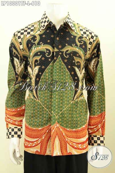 Jual Kemeja Lengan Panjang Mewah Halus, Pakaian Batik Premium Solo Terkini Bahan Halus Motif Bagus Proses Tulis, Penampilan Lebih Istimewa, Size L