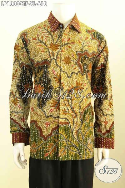 Batik Hem Solo Lengan Panjang, Kemeja Batik Premium Full Furing Motif Klasik Bahan Adem Tulis Asli, Piliah Tepat Untuk Tampil Sempurna [LP10003TF-XL]
