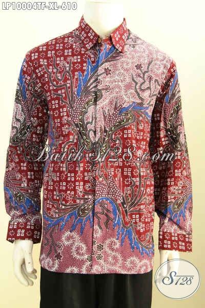 Sedia Kemeja Batik Premium Solo Lengan Panjang Mewah, Busana Batik Mewah Untuk Acara Resmi Daleman Full Furing Harga 610K, Size XL